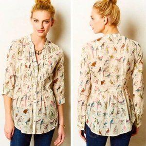Maeve Bird Print Pintuck Blouse